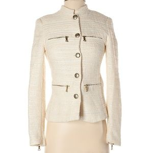 Zara Size S Cream Tweed Jacket Blazer